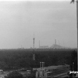 La centrale nuclaire vue depuis Pripyat